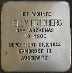 Photo of Nelly Fridberg brass plaque