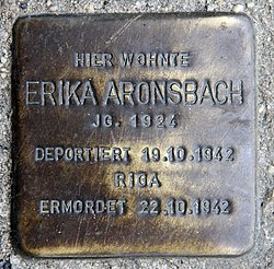 Photo of Erika Aronsbach brass plaque