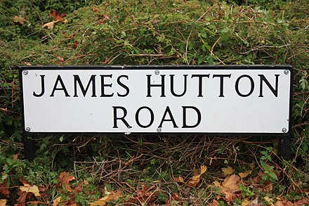 Street sign in the Kings Buildings complex in Edinburgh to the memory of James Hutton Street sign in the Kings Buildings complex in Edinburgh to the memory of James Hutton.jpg