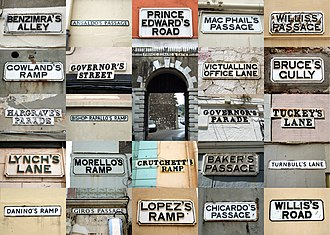 Streets in Gibraltar - A collage of some of Gibraltar's traditional cast iron street signs.