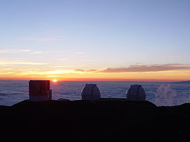 Subaru and Keck telescopes at sunset.jpg