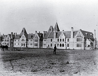 Sunnyside Hospital - Sunnyside Asylum, Christchurch. Completed in 1891, this was one of Mountfort's last major works. Designed in a chateauesque Gothic, the large windows created the air of a country house rather than place of incarceration.