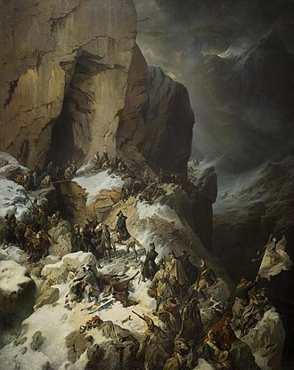Italian and Swiss expedition - Suvorov Crossing the Panix Pass, an Alexander Kotzebue painting