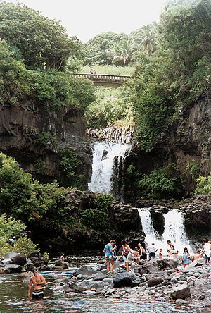 Swimmers in the pools at Kipahulu, Haleakala N...