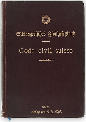 Civil code - Image: Swiss civil code 1907