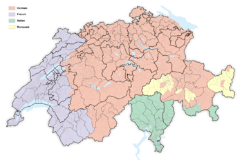 Switzerland Language Map Languages of Switzerland   Wikipedia