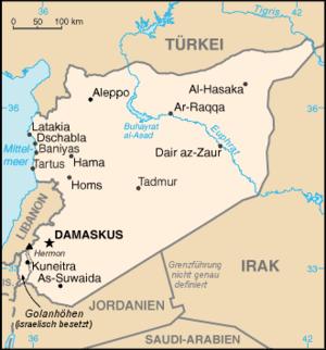 Deutsch: Karte von Syrien CIA World Factbook