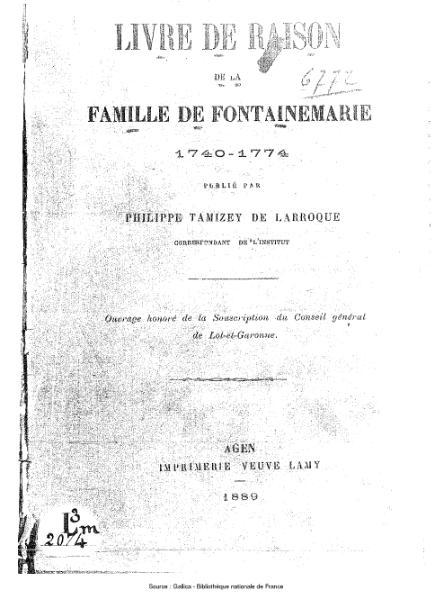 File:Tamizey de Larroque - Livre de raison de la famille de Fontainemarie.djvu