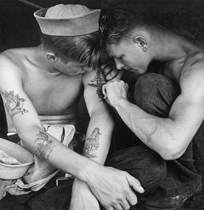 Tattooed sailor aboard USS New Jersey in 1944 Tattooed sailor aboard the USS New Jersey.jpg