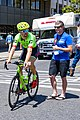 Taylor Phinney of Cannondale Drapac before the start of Stage 2 in Modesto (34194974834).jpg