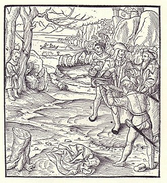 William Tell - A depiction of the apple-shot scene in Sebastian Münster's ''Cosmographia'' (1554 edition).