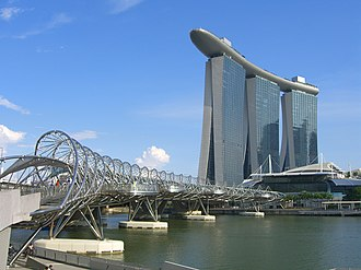 Downtown Core - Image: The Helix Bridge and Marina Bay Sands Hotel, Singapore 20140513