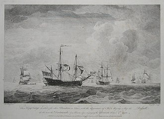 Voyage of the Glorioso - The King George disabled at the time the Dartmouth was blown up.
