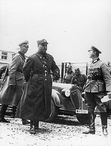 Gen. Kutrzeba arriving to negotiate the surrender of Polish capital with General Johannes Blaskowitz, the Commander of German 8th Army, 1939 The Nazi-soviet Invasion of Poland, 1939 HU106370.jpg