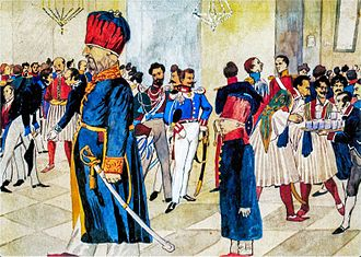 Greek–Turkish relations - The first Ottoman ambassador to the Greek Kingdom, the Phanariote Konstantinos Mousouros, at a ball in the royal palace in Athens