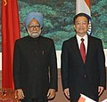 The Prime Minister, Dr. Manmohan Singh with the Chinese Premier, Mr. Wen Jiabao at the signing of Agreements Ceremony, in Great Hall of People, Beijing in China on January 14, 2008.jpg
