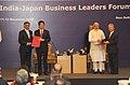 The Prime Minister, Shri Narendra Modi and the Prime Minister of Japan, Mr. Shinzo Abe at the India-Japan Business Leaders Forum, in New Delhi on December 12, 2015.jpg