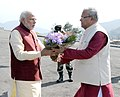 The Prime Minister, Shri Narendra Modi being received by the Governor of Nagaland, Shri P.B. Acharya, at Kohima, in Nagaland on December 01, 2014.jpg