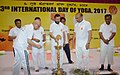 The Union Minister for Human Resource Development, Shri Prakash Javadekar lighting the lamp, on the occasion of the 3rd International Day of Yoga – 2017, at Imphal.jpg