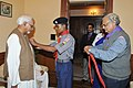 The Vice President, Shri Mohd. Hamid Ansari being presented with the 'Bharat Scouts and Guides Flag Sticker' by the Scouts and Guides on the occasion of its Foundation Day, in New Delhi on November 07, 2012.jpg