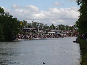 Eights Week - The scene at Boathouse Island during Eights Week 2005, crammed with spectators awaiting the next race.