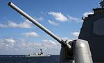 The guided missile destroyer USS Truxtun (DDG 103) maneuvers behind the guided missile cruiser USS Philippine Sea (CG 58) Dec. 2, 2013, in the Atlantic Ocean 131202-N-PJ969-026.jpg