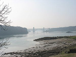 Menai Strait fish weirs - The Swellies at low tide