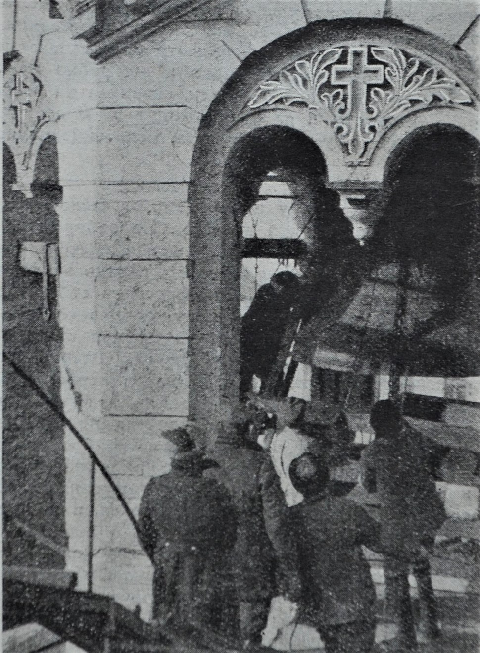 The removal of 5000 kg bell from St Volodymyr's Cathedral Kiev USSR 1930