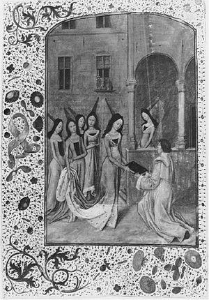 Agnes van den Bossche - Unknown miniaturistThe scribe presenting his work to Margaret of Austria. Friedrich-Schiller Universitats bibliothek, Jena. Ms. El. f. 85, 13 V