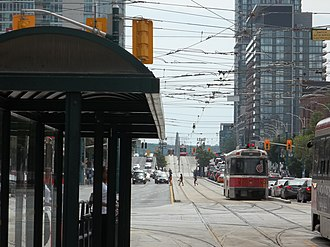 CityPlace, Toronto - Southbound streetcars from the 510 Spadina line enters CityPlace. The 510 Spadina is one of three streetcar lines that operate in the area.