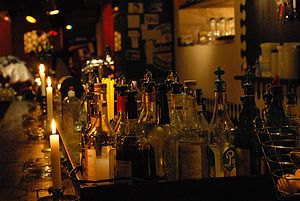 Bar and bottles, available light photography