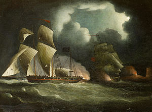 Thomas Buttersworth - A Royal Navy brig chasing and engaging a well-armed pirate lugger.jpg
