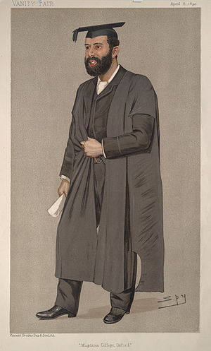 """Thomas Herbert Warren - """"Magdalen College, Oxford"""". Caricature by Spy published in Vanity Fair in 1893."""