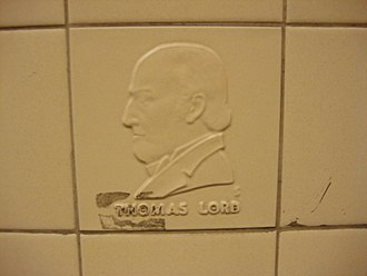 Thomas Lord - A tile with Thomas Lord's profile in relief at St. John's Wood tube station