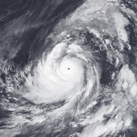 Satellite image of Typhoon Tip, which had the lowest atmospheric pressure measured in a tropical cyclone, at 870 mbar (26 inHg) Tip 1979-10-12.jpg