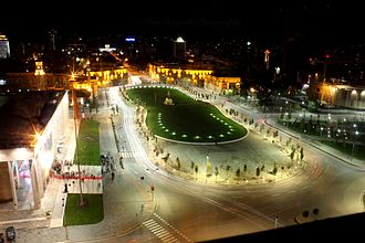 Skanderbeg Square - View at night.