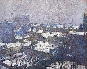 Paris roofs under the snow