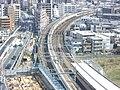 Tokaido Shinkansen sharp turn in Musashi-Kosugi 2.jpg