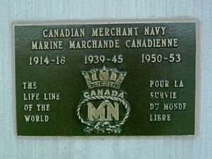 Park ship - Plaque commemorating the Canadian Merchant Navy.