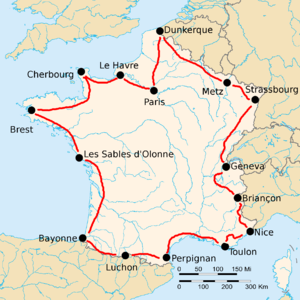 Route of the 1922 Tour de France followed counterclockwise, starting in Paris