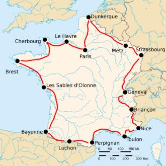 1923 Tour de France - Route of the 1923 Tour de France Followed counterclockwise, starting in Paris