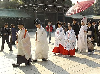 Demographics of Japan - Shinto wedding at the Meiji Shrine