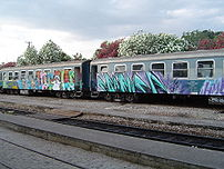 Graffiti on a train in Greece