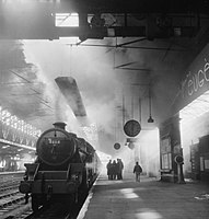Train pulling away from platform 6 at Chester Station, sometime in 1944. D18525.jpg