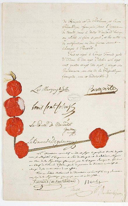 The treaty, French National Archives. Traite de Campo-Formio 12 sur 12 - Archives Nationales - AE-III-50bis.jpg