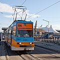 Tram in Sofia in front of Central Railway Station 2012 PD 094.jpg