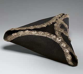 Tricorne Hat with the brim turned up on three sides