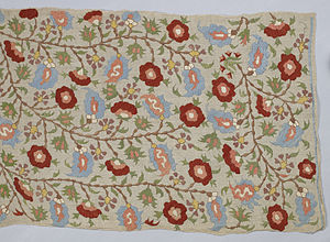 Islamic embroidery - Turkish Mirror Cover with floral ornament based on Ottoman ceramics. A superstition warned against looking into a mirror at night. 18th century