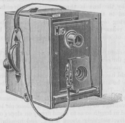 Sketch of an early 20th century twin-lens reflex camera
