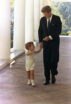 John F. Kennedy Jr. - JFK Jr. with his father at the White House at age two.